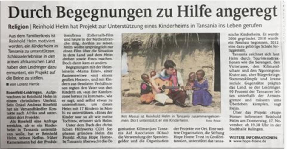 Zeitungsbericht des Schwarzwälder-Boten – CDH Stephanus e.V. Trossingen